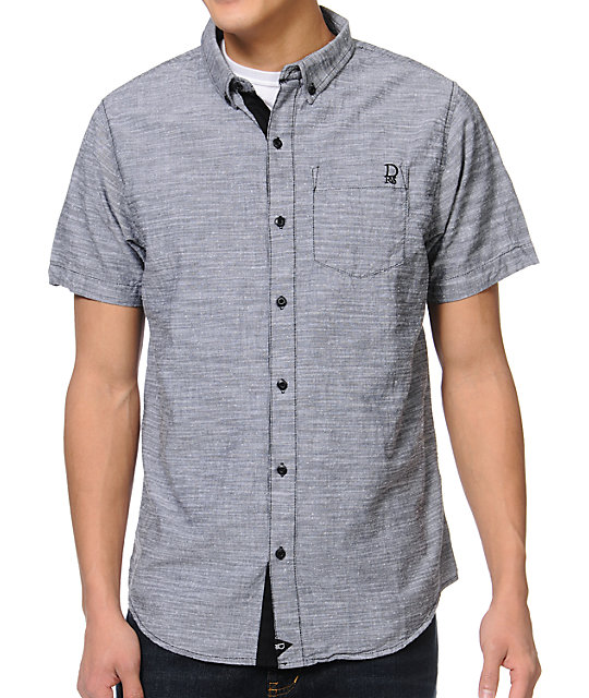Dravus Phantogram Charcoal Slub Button Up Shirt