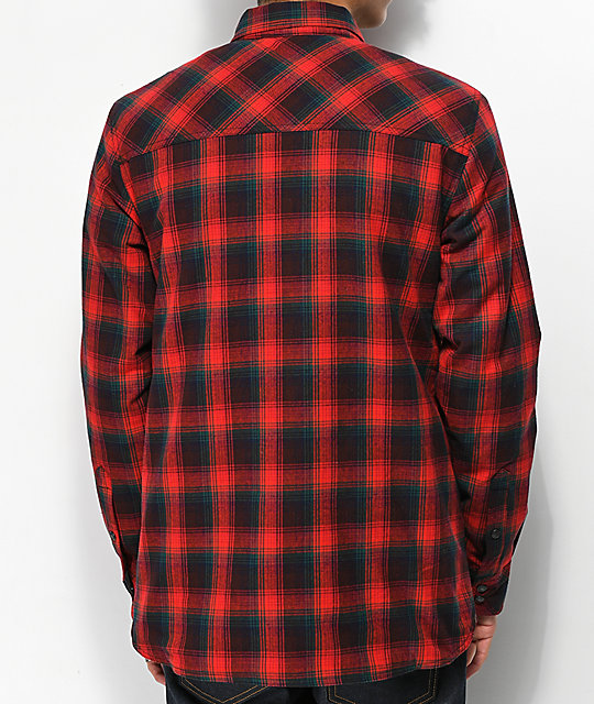 Dravus Philly Sherpa Red Flannel Shirt