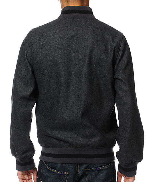 Dravus Quarterback Wool Charcoal Varsity Jacket