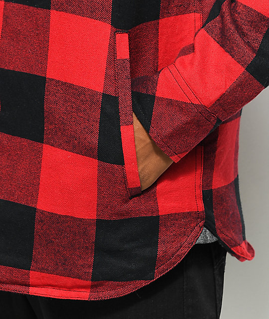 Dravus Rae Red & Black Buffalo Plaid Sherpa Flannel Shirt