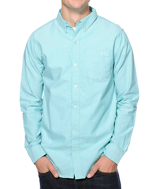 Dravus So Minty Chambray Mint Long Sleeve Button Up Shirt