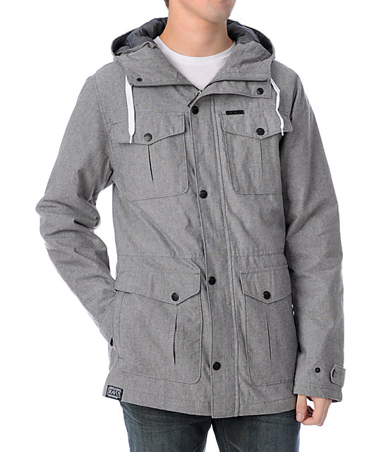 Dravus Soto Wax Chambray Grey Mens Jacket