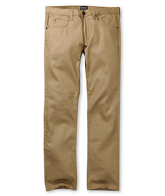 Dravus Standard Waxed Khaki Regular Fit Jeans