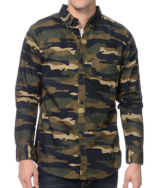 d5377716 Dravus Sting Op Camo Print Long Sleeve Button Up Shirt | Zumiez