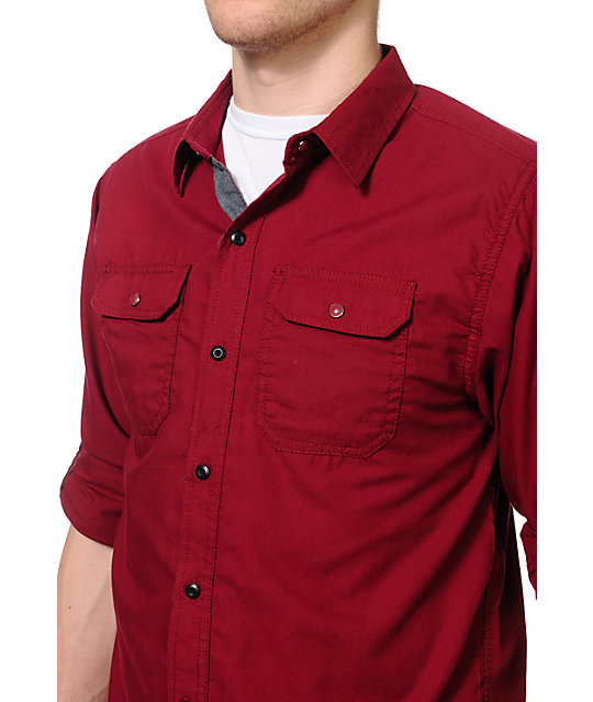 Dravus Thundercat Burgundy Long Sleeve Woven Shirt