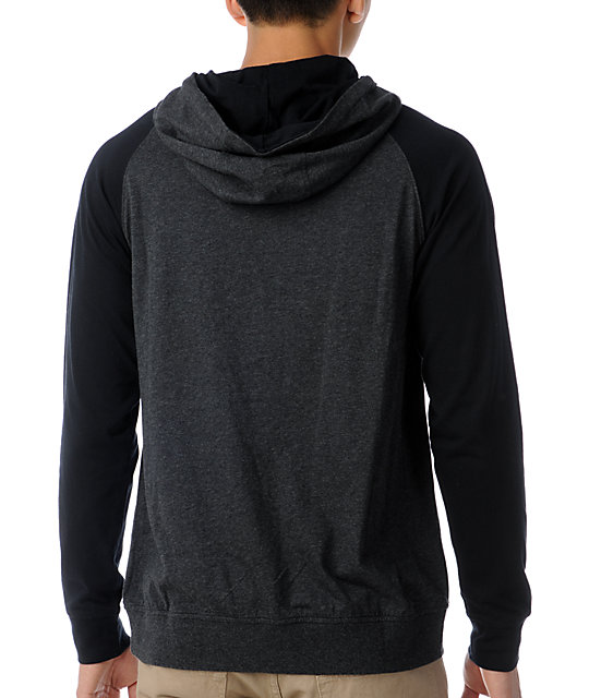 Dravus Two Faces Charcoal & Black Knit Pullover Hooded Shirt