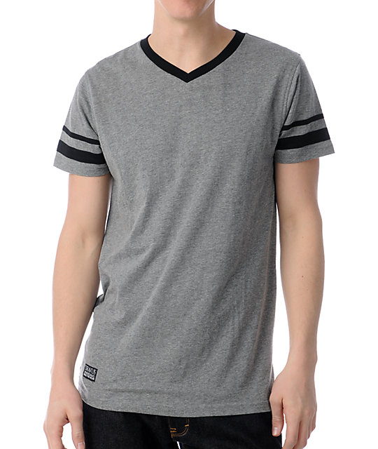 Dravus Varsity Grey & Black Knit V-Neck T-Shirt