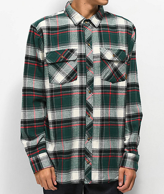 Dravus Willy Green, White & Black Flannel Shirt