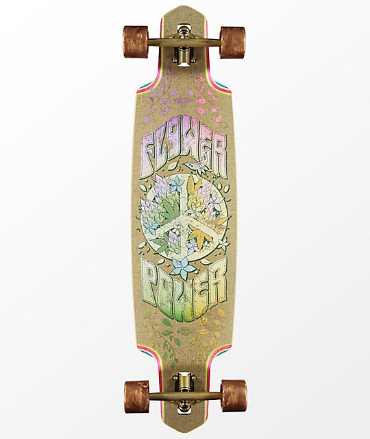 "Dusters Flower Power Hemp 38"" Drop Through Longboard Complete"