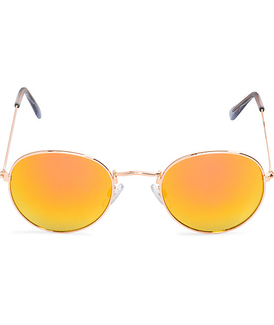 Dyllon Rose Gold Rounded Sunglasses