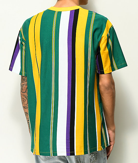 EPTM. Green, Yellow & Purple Vertical Stripe T-Shirt