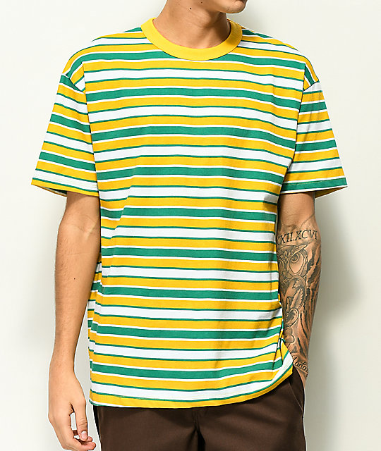 50bd35202f3 Enimay Men's Casual Short Sleeve Athletic Crew Neck Striped Shirt White  Mint X-large