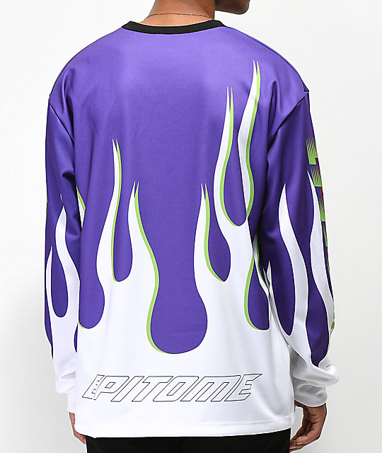 EPTM. Purple Flame Long Sleeve Racing Jersey