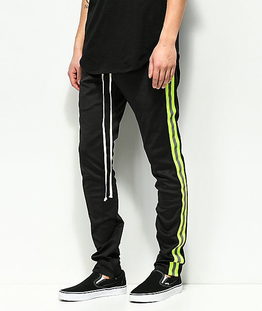 e8923060 EPTM. Reflective Black & Yellow Track Pants | Zumiez