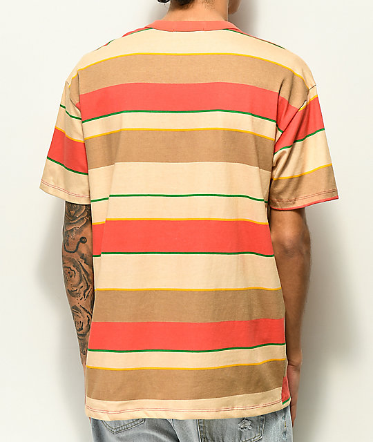 EPTM. Tan, Green & Coral Wide Stripe T-Shirt