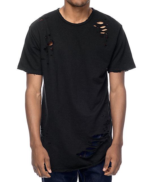 aead42c28 EPTM. Thrashed Elongated Black T-Shirt | Zumiez