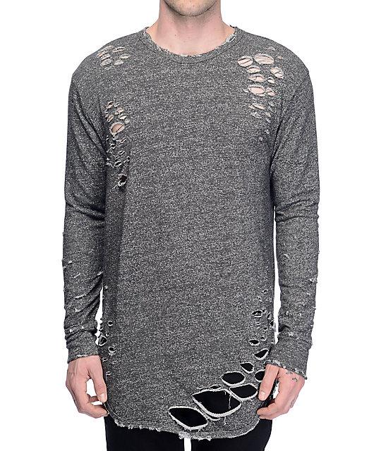 c98161cdc EPTM. Thrashed Elongated Charcoal Shirt | Zumiez