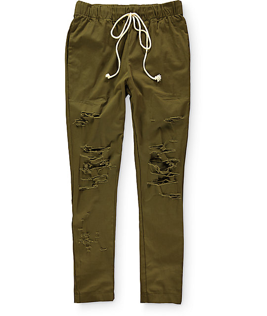 EPTM. Thrashed Olive Green Twill Pants