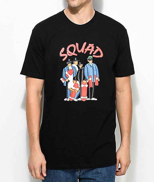 EVERYBODYSKATES Squad camiseta negra