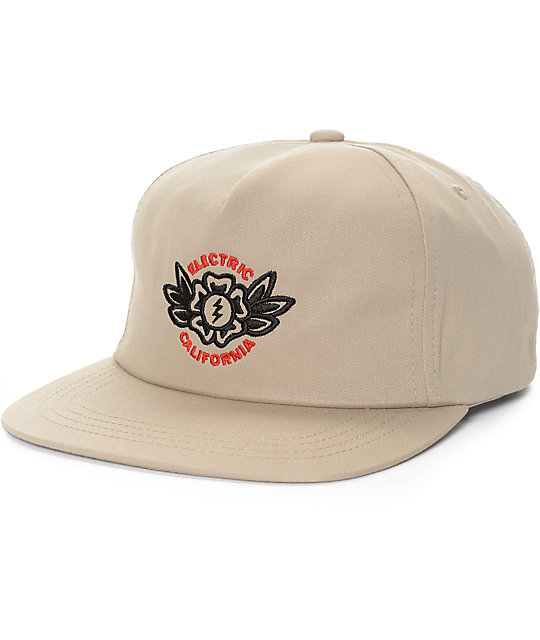 Electric Blossom Khaki Unstructured Snapback Hat