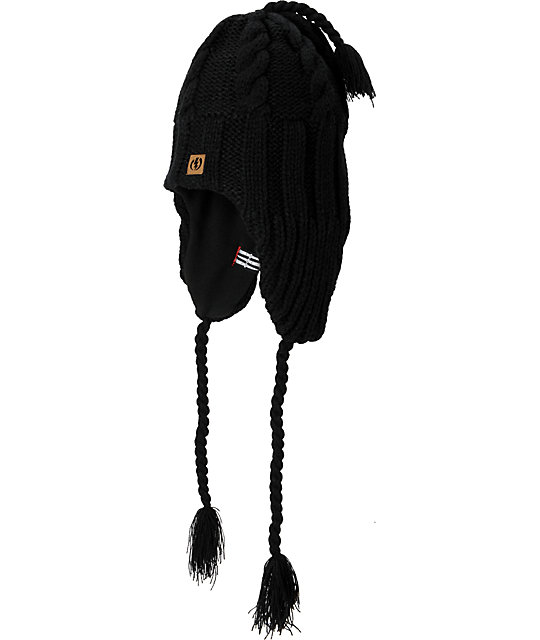 Electric Transmission Black Earflap Beanie