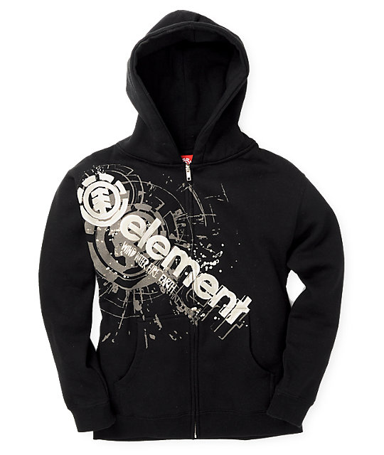 Element Boys Cut Out Black Hoodie