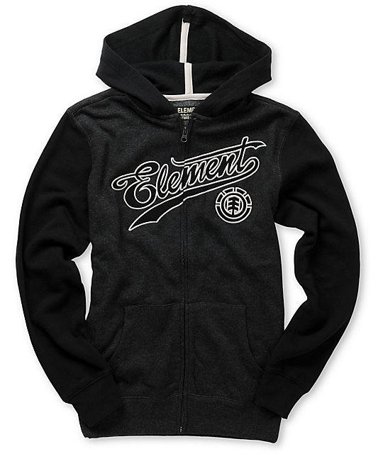 Element Boys Fenway Charcoal Zip Up Hoodie