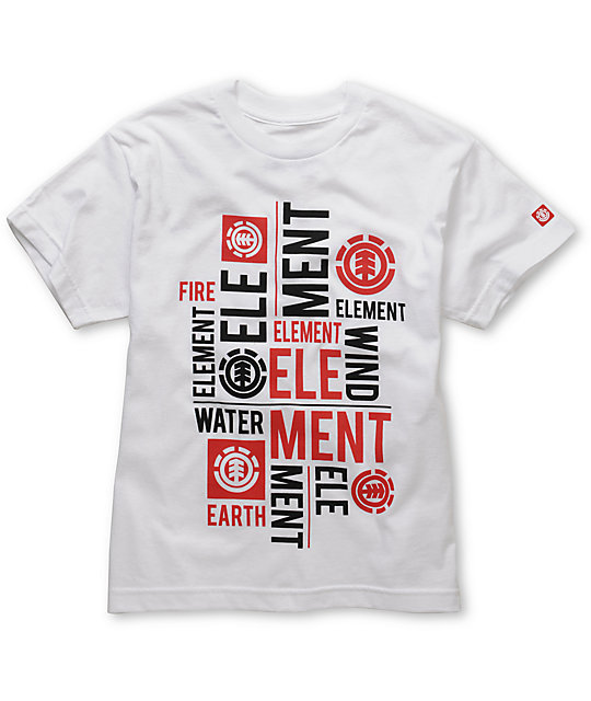 Element Boys Letterpress White T-Shirt