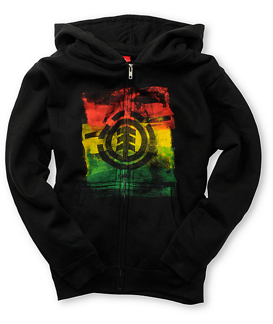 Element Boys Tico Black & Rasta Hoodie
