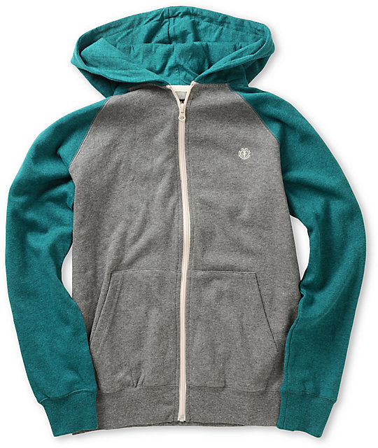 Element Boys Vermont Grey & Teal Zip Up Hoodie