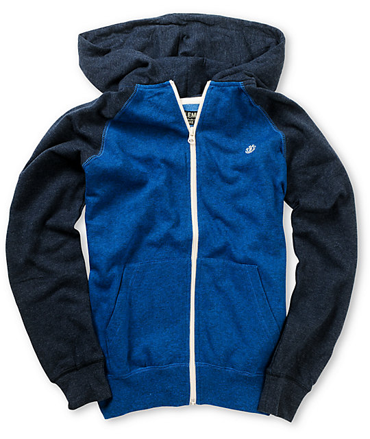 Element Boys Vermont Two-Tone Blue Zip Up Hoodie