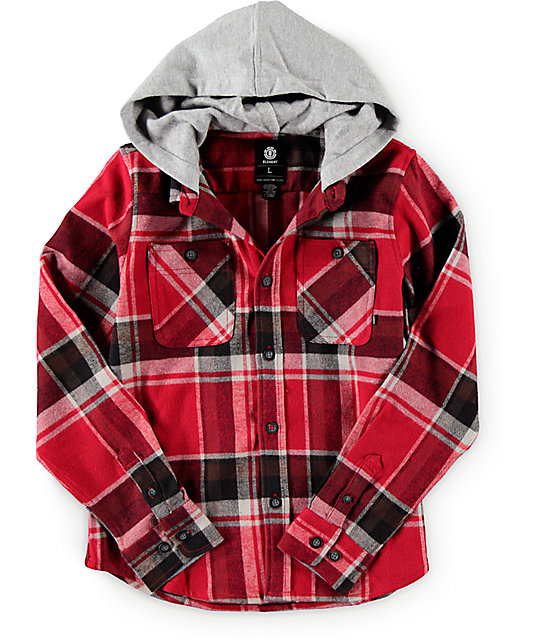 Element Boys Woodland Hooded Flannel Shirt