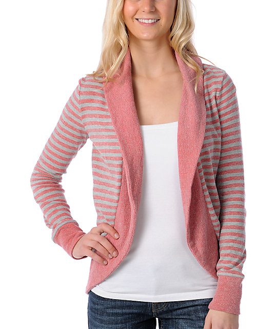 Element Dree Red & Grey Striped Fleece Wrap