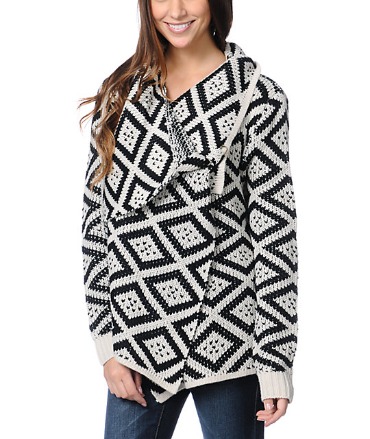 Element Esther Black & White Wrap Sweater