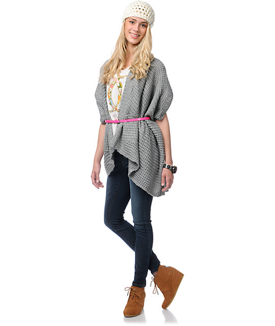 Element Estonia Grey Wrap Cardigan Sweater