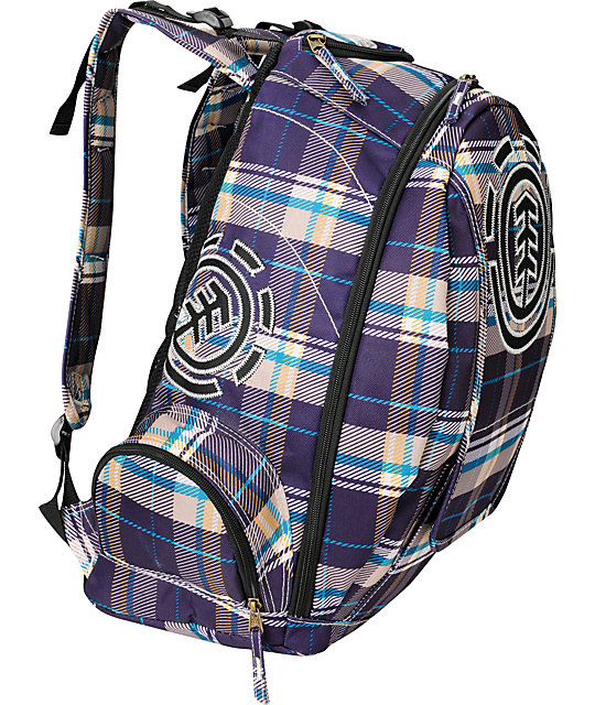 Element Gamine Plum Plaid Backpack