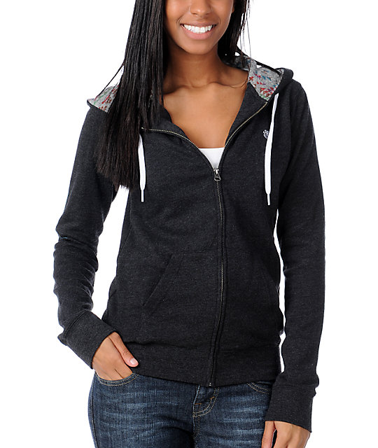 Element Glover Charcoal Zip Up Hoodie