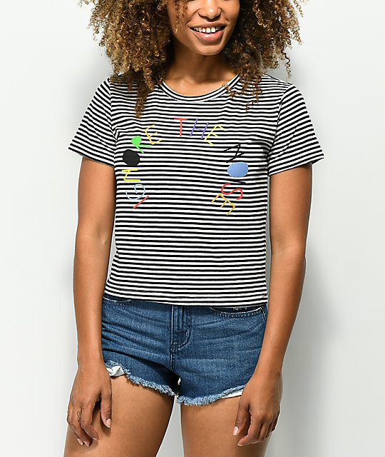 Element Ignore The Noise Striped Semi-Cropped T-Shirt