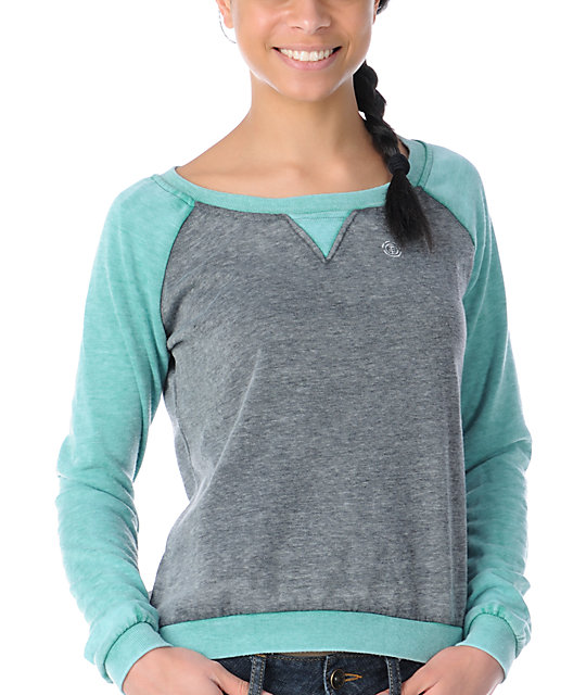 Element Jetta Aqua & Heather Grey Crew Neck Sweatshirt