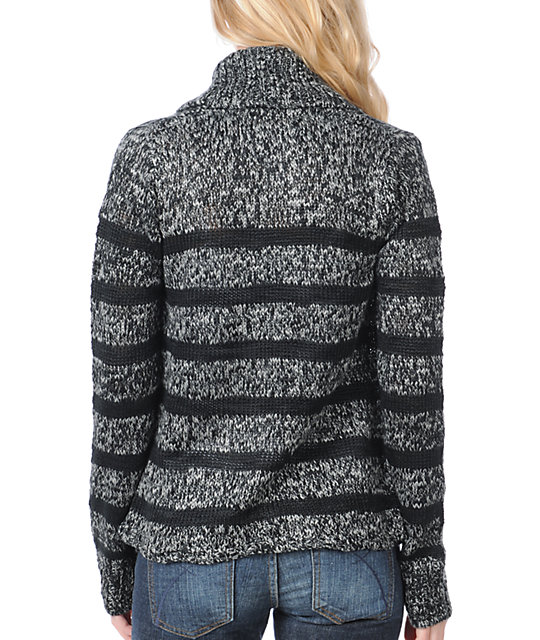 Element Lariat Black & Grey Knit Cardigan Sweater