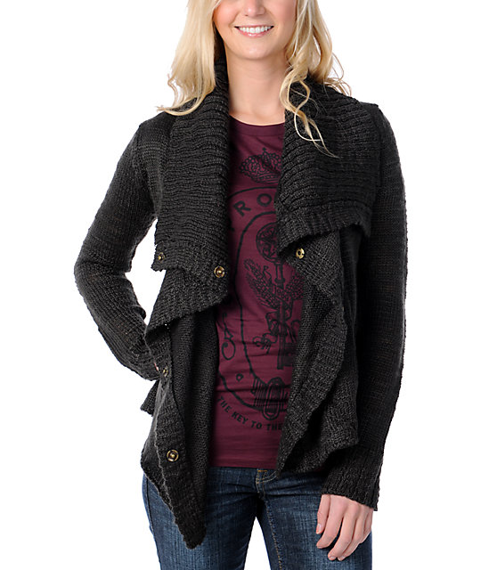 Element Lariat Dark Grey Knit Cardigan Sweater