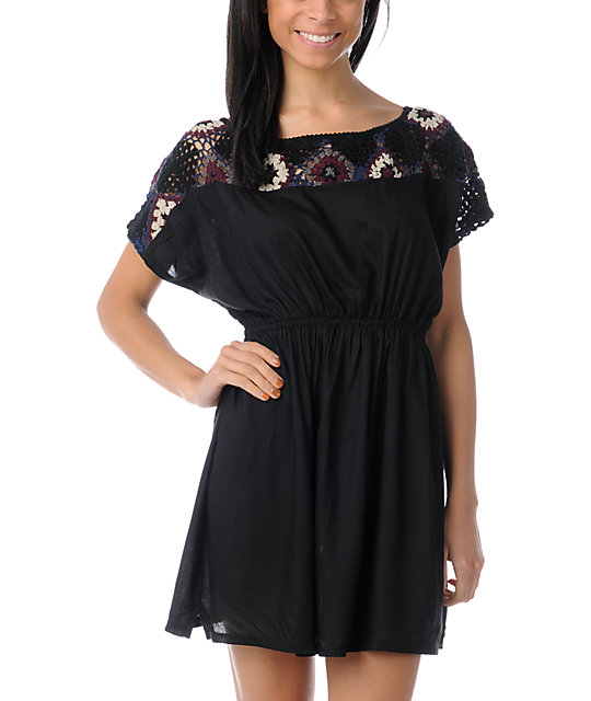 Element Mave Black Crochet Woven Dress