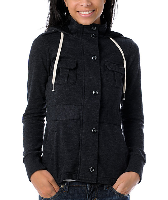 Element Mckayla Slub Charcoal Jacket