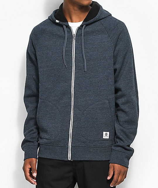 Element Meridian Bonded Fleece Full Zip Charcoal Hoodie