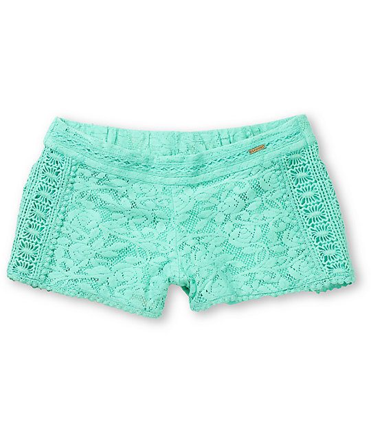 Element Nina Mint Crochet Shorts