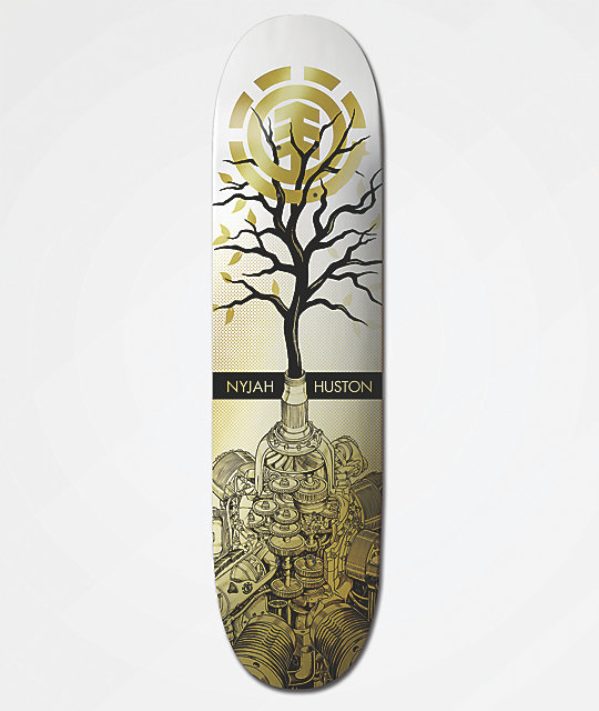 "Element Nyjah Tree 8.25"" tabla de skate dorada y blanca"