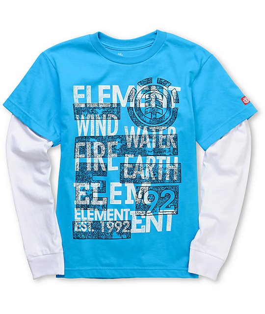 Element Shock Cy 2Fer Boys Turquoise Long Sleeve T-Shirt