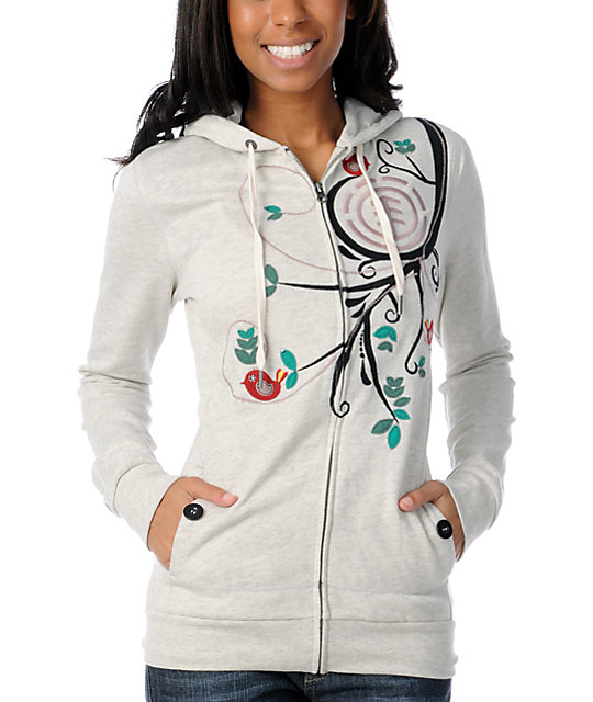 Element Skylark Oatmeal Embroidered Zip Up Hoodie
