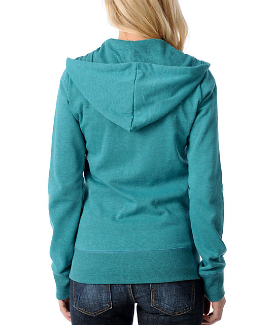 Element Songbird Teal Embroidered Zip Up Hoodie