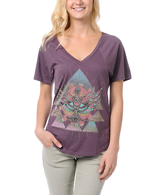 Element Sunbird Purple V-neck T-Shirt
